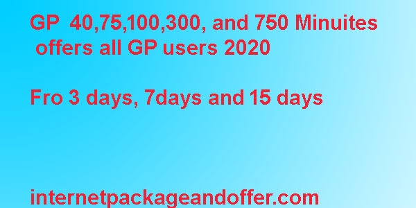 GP minute package 100 minute, 40 minute, and 75 minute offer