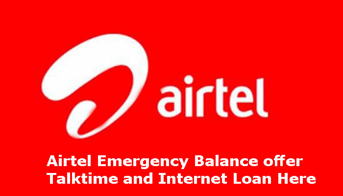 Airtel emergency recharge and Internet loan, talk time and SMS loan